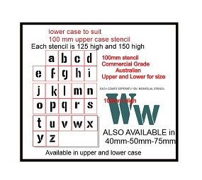 lower case to suit 100mm upper case stencil outside of stencil 1